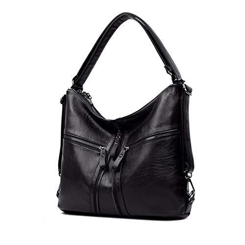 Black Zipper PU Purse Backpack Artwell Leather Handbag Tote Bags Top Shoulder Convertible handle Women Satchel Ladies qnUIwZ
