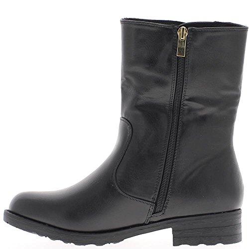 Botas negro imitación piel tacon de 3,5 cm