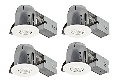 Globe Electric 4' LED IC Rated Swivel Spotlight Recessed Lighting Kit Dimmable Downlight, 4-Pack, Round Trim, White Finish, Easy Install Push-N-Click Clips, 4 LED Bulbs Included, 90733
