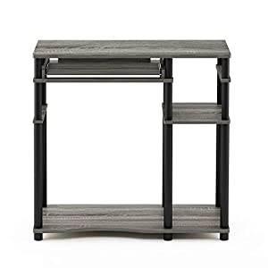 Furinno 17097GYW/BK Abbott Computer Desk with Bookshelf, French Oak Grey/Black
