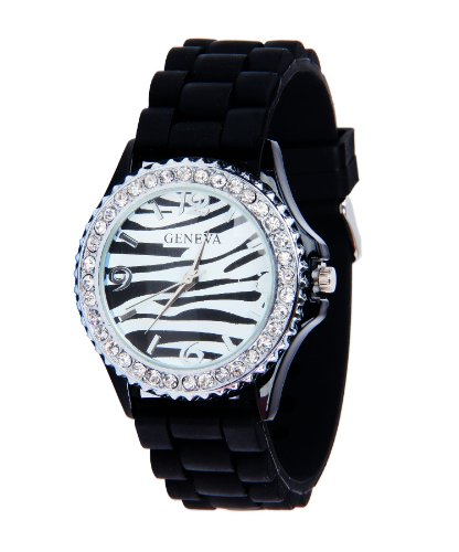Black Silicone Soft Band/Strap Watch With Matching Zebra Face, Rhinestones