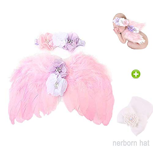 Newborn Baby Photography Props Feather Angel Wings and Headband Set Baby Hair Accessories Photo Prop Costum with Baby Hospital Hat