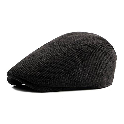 ZLSLZ Mens Corduroy Flat Adjustable Ivy Newsboy Gatsby Cabbie Beret Hat Cap Black