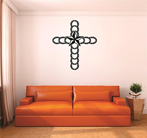 Design with Vinyl RAD V 351 3 Horseshoe Cross Western Star Cowboy Cowgirl Home Decor Living Room Bedroom Picture Art Decal, 20