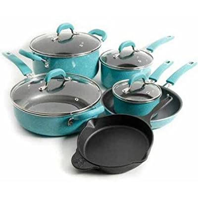 Premium Nonstick 10 Piece Cookware Set, Pre-Seasoned Specially, Turquoise. On The Food Network