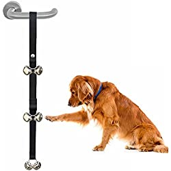 Dog Doorbells Premium Quality Training Potty Dog Bells Adjustable Door Bells Dog toys (Black)