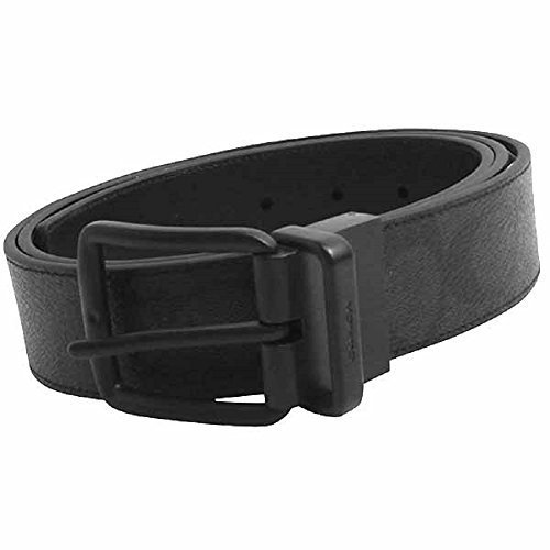 Coach Wide Harness Cut To Size Reversible Signature Coated Canvas Belt , Black/Black
