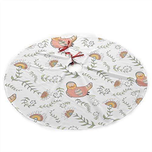 Grtswp Luxury Soft Snow Christmas Tree Skirt Fundo Costura Animados Frango Holiday Print Tree Skirt Holiday Ornament (Diameter :90 Cm/35.5 Inch) ()