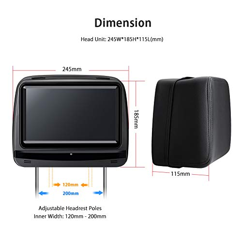 XTRONS 2x9 Inch Pair Touch Screen Car Auto Headrest DVD Player Game 1080P Video Built-in HDMI Port Headphones Included (Black) by XTRONS (Image #7)