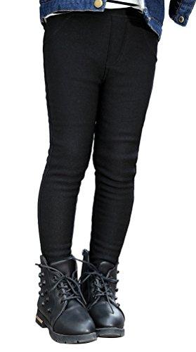 Us Warm Up Pant (UwantC Kids Girl Winter Warm Fleece Lined Elastic Thick Leggings Long Pants Trouser Black,US 5-6T, Tag 120)