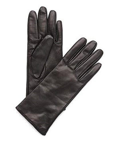 Fownes Brothers Cashmere Lined Leather Gloves-WOMENS-brown (LARGE, BLACK)