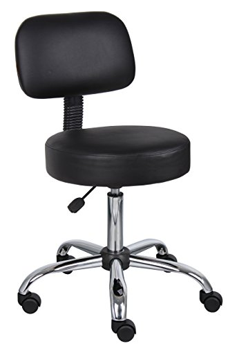 Boss Office Products B245-BK Be Well Medical Spa Stool with Back in Black (Renewed) ()