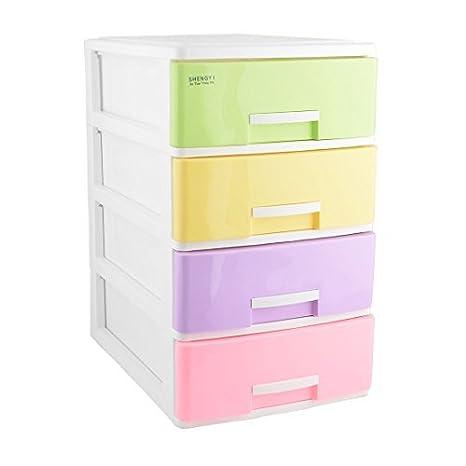eDealMax Familiar Sala de Estar Cuatro capas Diseñado almacenamiento Caja de la baratija Organizador Multicolor
