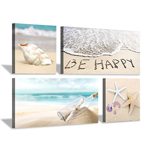 Hardy Gallery Beach Artwork Seascape Wall Art: Seashell and Starfish Picture Painting Print on Wrapped Canvas for Living Room (32'' x 16'' x 2 Panels + 16'' x 16'' x 2 Panels) (Starfish Photo)