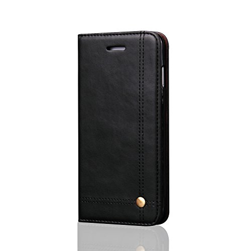 DaGeLon Case Compatible with iPhone 6S Plus 6 Plus 5.5 inch, Classic Business Retro Flip Cover Elegant Leather Full Body Shockproof Folio Magnetic Closure Bumper Kickstand and Card Slots, Black