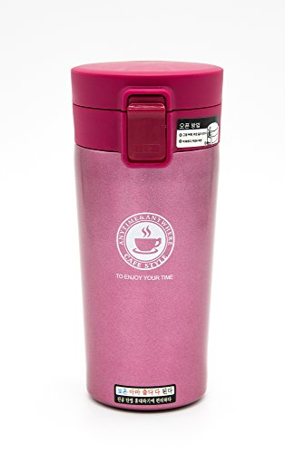 Emporia Korea Café Stainless Steel Coffee & Tea Travel Mug (13oz/380ml) - Features Double Walled Vacuum Insulation That Keeps Your Beverages HOT or Cold for Hours!
