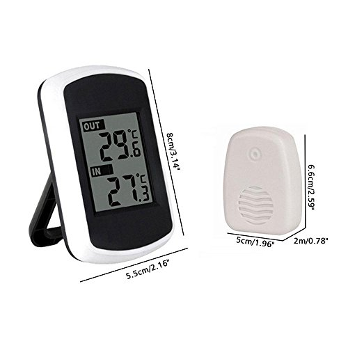 Cordless Indoor Outdoor Thermometer, Battery Powered Indoor Outdoor Thermometer with 100 Foot Range, Accurate Room Thermometer Indoor Outdoor Temperature Monitor with Remote Transmitter By Aolvo by Aolvo (Image #1)