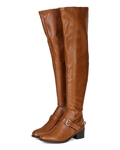 Breckelles Bg25 Stivali Da Equitazione In Similpelle Con Fibbia In Pelle - Tan