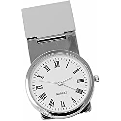Round White Watch Stainless Steel Hinged Money Clip