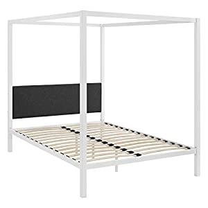 Modway MOD-5570-WHI-GRY Raina Canopy Bed Frame, Queen, White Gray