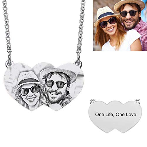DXYAN Two Hearts Photo Necklace Sterling Silver Personalised Necklace Pendant-A for Christmas(16.0 inches)