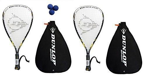 2 x Dunlop Nanomax Ti Racketball Rackets + 3 Dunlop Balls