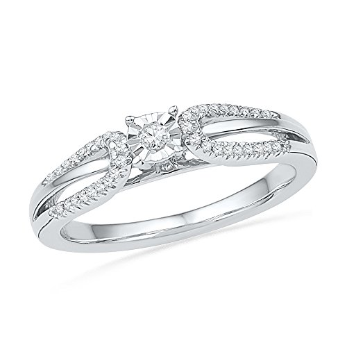 10kt White Gold Womens Round Diamond Solitaire Open-shank Bridal Wedding Engagement Ring 1/6 Cttw (Shank Open Rounds Ring)