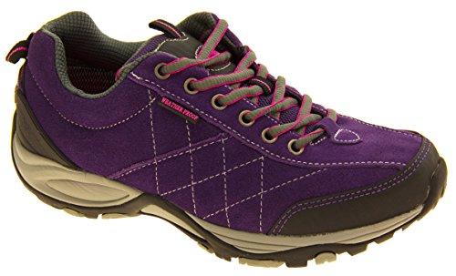 Cuero para mujer NORTHWEST TERRITORY zapatos impermeables para caminar Púrpura