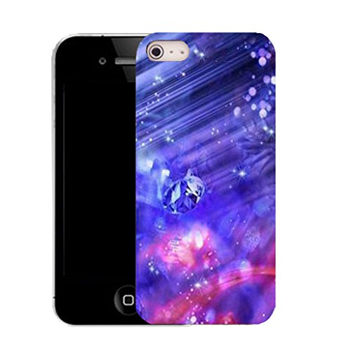 Mobile Case Mate IPhone 4s clip on Silicone Coque couverture case cover Pare-chocs + STYLET - blue abstract gem pattern (SILICON)