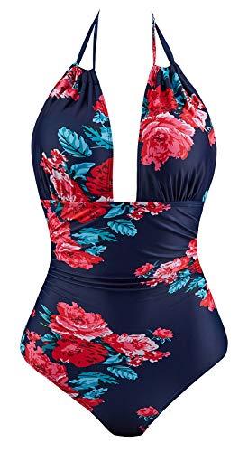 Eomenie One Piece Swimsuits for Women Slimming Monokini Tummy Control Swimwear Plus Size Bathing Suits V Neckline Halter (Print # 61, M/US:8-10) ()