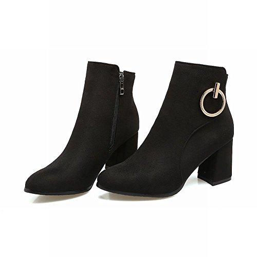 YE Damen Chunky Heels Ankle Boots Stiefeletten High Heels mit Reißverschluss Elegant Modern Schuhe Schwarz