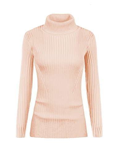 - v28 Women Stretchable Turtleneck Knit Long Sleeve Slim Fit Bodycon Sweater(S, Nude)