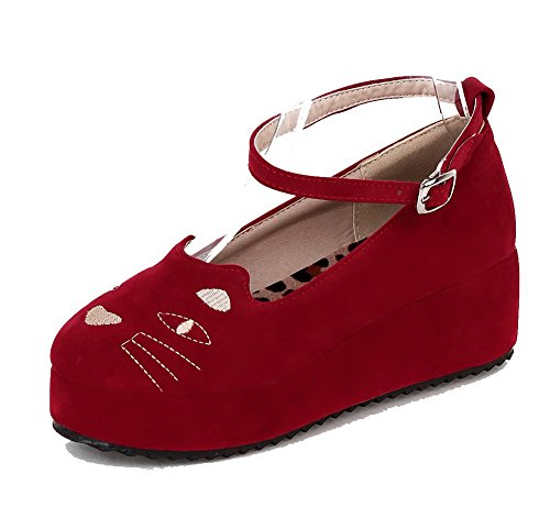 AllhqFashion Womens Buckle Frosted Kitten-Heels Assorted Color Pumps-Shoes Red CwIukULdQg