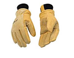 Golden color premium grain pigskin leather palm with premium suede pigskin back, double palm patches on palm and index, middle and ring finger sewn with Drayton thread, ergonomic wing thumb, polyester knit wrist, plastic pairing hook. Heavy H...