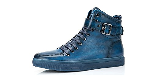 Jump Newyork Men's Sullivan Navy Round Toe Metallic Reptile Stamped Leather Lace-Up Inside Zipper and Strap High-Top Sneaker 11 D US Men