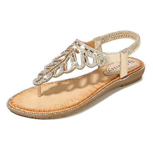 Womens Boho Flat Sandals,❤️ FAPIZI Girls Clip Toe Leaf Crystal Rome Shoes Casual Boho Beach Elastic Band Sandals Shoes Gold