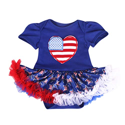 (LiLiMeng 2019 New Newborn Baby Kids Stars Striped 4th of July Love Romper Tulle Dress Outfits Short Sleeve Ruched Dress Blue)