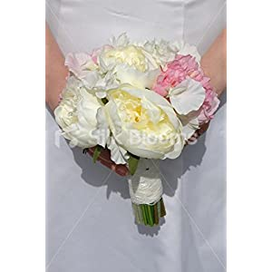 Fresh Touch Peony & Sweetpea Bridesmaid Bouquet in Ivory & Pink 8