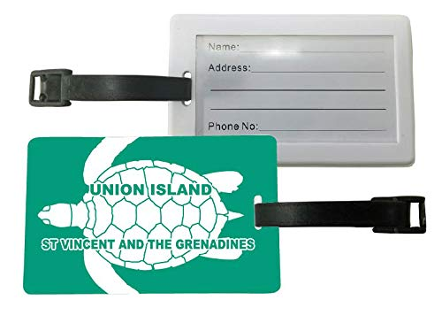 (Union Island St Vincent and the Grenadines Green Turtle Design Souvenir Travel Luggage Tag 2-Pack)