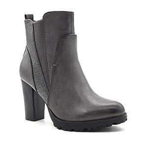 Angkorly – Scarpe Moda Stivaletti Scarponcini Chelsea Boots bi-Materiale Zeppe Donna Pelle di Serpente Elastico Tacco a Blocco Alto 9 CM Foderato di Pelliccia