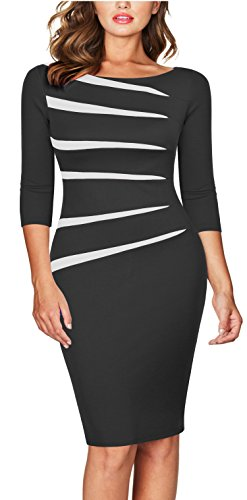 FORTRIC Women 2/3 Sleeve Slim Asymmetric Stitching Bodycon Business Work Pencil Dress Black XXL
