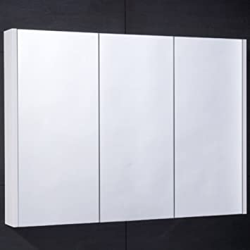 Bathroom Mirror Cabinet Wall Storage Furniture 90cm Mounted Hung Recessed Large Modern Designer Glass 3 Door