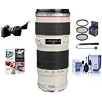 Canon EF 70-200mm f/4L USM AF Lens Kit, USA - Bundle with 67mm Filter kit, Lens Cap Leash, Professional Lens Cleaning Kit, Flex Lens Shade, Special Pro Software Package