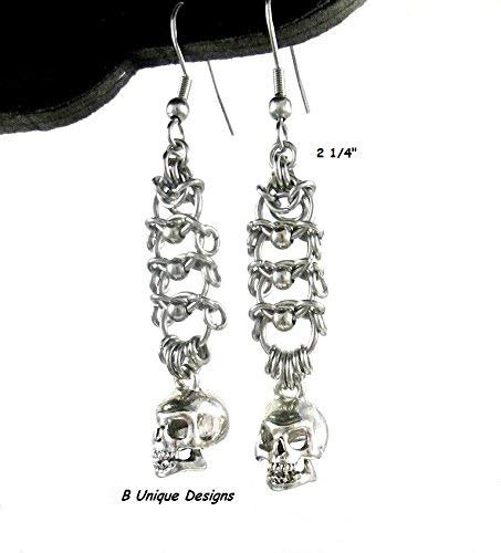 Silver Skull Earrings Stainless Steel Chainmaille Women's Handmade Gift Weave Jewelry Made in USA Chain-mail