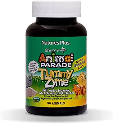 Natures Plus Animal Parade Source of Life Childrens Chewable Digestive Aid - Tropical Fruit Flavor - 90 Animal Shaped Tablets - Contains Live Probiotics - Vegetarian, Gluten Free - 90 Servings
