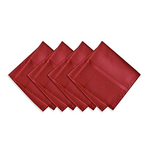 Poinsettia Napkin - Newbridge Elegance Plaid Christmas Fabric Napkin Set, 100% Polyester, No Iron, Soil Resistant Holiday Napkins, Set of 4 Fabric Napkins, Poinsettia Red