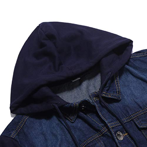 Trim Pockets Cardigan Hooded Outdoor Casual Jacket Blue Jean Mens Fit Energy qPxwIZ7XHc