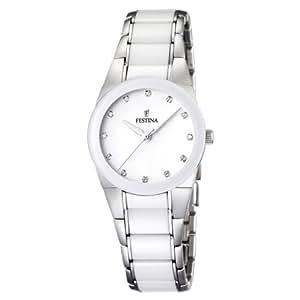 Festina F16534/3 - Reloj analógico de pulsera para mujer (mecanismo de cuarzo, esfera blanca y correa de acero inoxidable multicolor)