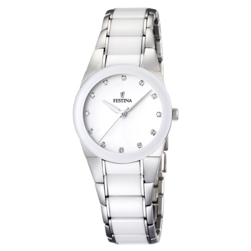 Festina Women's F16534/3 White Ceramic Quartz Watch with White Dial