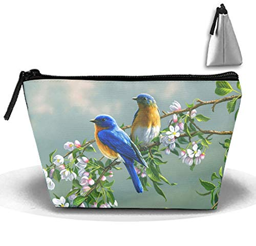 Make-Up Cosmetic Tote Bag Animal BlueBirds Trapezoidal Carry Case